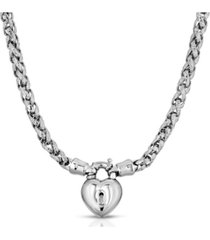 2028 silver-tone lock and heart necklace