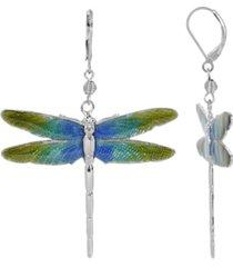 2028 women's silver tone blue and green enamel dragonfly earrings