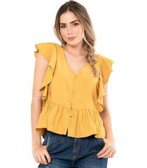 blusa anali amarillo ragged pf11112237