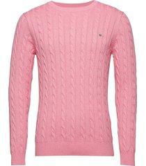 cotton cable crew stickad tröja m. rund krage rosa gant