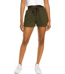 zella washed organic cotton shorts, size x-small in green rosin at nordstrom