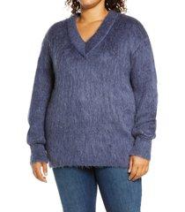 plus size women's bp. fuzzy v-neck tunic sweater, size 1x - blue