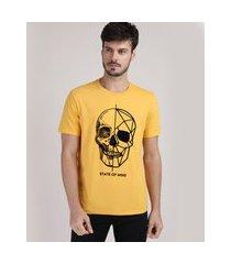 "camiseta masculina caveira state of mind"" manga curta gola careca amarela"""