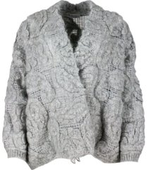 brunello cucinelli cardigan sweater in soft and fluffy mohair and wool alternating with a mesh knit that gives a three-dimensional look