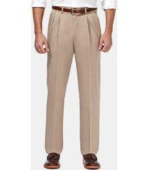 haggar men's premium no iron khaki classic fit pleat hidden expandable waist pants