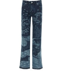 red valentino all-over printed jeans