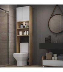 armã¡rio banheiro para vaso sanitã¡rio com led e 2 portas multimã³veis rustic/branco - marrom - dafiti