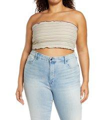 plus size women's bp. stripe rib tube top, size 3x - ivory