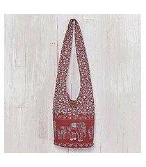 cotton shoulder bag, 'red siam' (thailand)