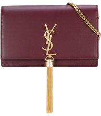 saint laurent kate tassel chain wallet - red