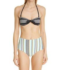 women's lemlem neela high waist bikini bottoms, size large - blue