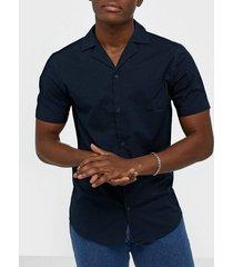solid brando poplin ss shirt skjortor insignia blue