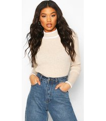 contrast cuff knitted sweater, stone