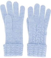 n.peal cable knit gloves - blue