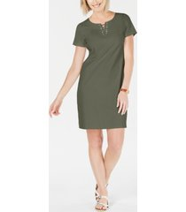 karen scott petite cotton lace-up split-neck dress, created for macy's