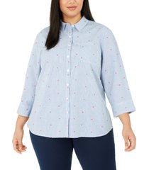 karen scott plus size printed button-front cotton top, created for macy's