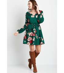 maurices womens green floral cozy tiered mini dress