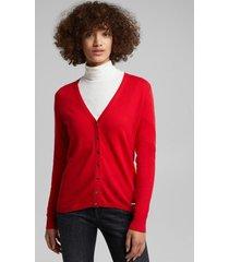 cárdigan cuello en v con algodón ecológico rojo esprit