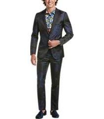 paisley & gray slim fit suit separates coat blue & black floral