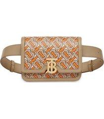 belted monogram print leather tb bag