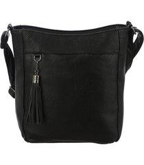 bolsa tiracolo mevisto detalhe texturizado e franja preto