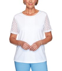 alfred dunner classics lace-trimmed embellished top