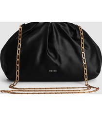 reiss ellena - satin pouch clutch in black, womens