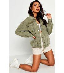 super oversize rigid jean jacket, khaki