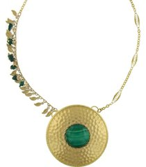 t.r.u. by 1928 14 k gold dipped leaf fringe semi-precious malachite hammered disk necklace