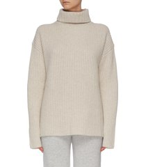 turtleneck ribbed cashmere sweater