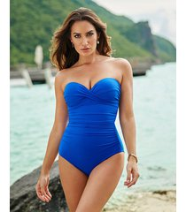 rock solid madrid underwire firm control bandeau one-piece swimsuit