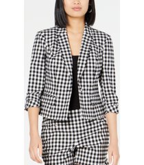 inc petite 3/4-sleeve gingham blazer, created for macy's