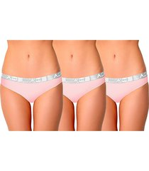 aqs women's 3-pack logo cotton-blend bikini panties - pink - size xl