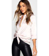 woven satin oversized long sleeve shirt, champagne