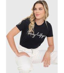 camiseta azul oscuro-blanco tommy hilfiger
