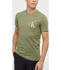 calvin klein jeans instit back pop logo slim tee t-shirts & linnen green