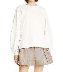 women's ganni women's software isoli organic cotton blend long sweatshirt, size small - white