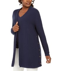 jm collection cotton side-button open-front cardigan, created for macy's
