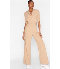 womens another notch on your belted wrap jumpsuit - stone