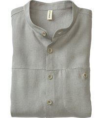 linnen overhemd 1/1-mouw, donkerolijf m