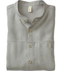 linnen overhemd 1/1-mouw, donkerolijf s