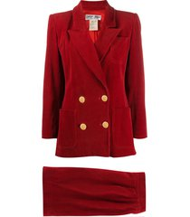 yves saint laurent pre-owned double-breasted skirt suit - red