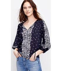 loft border floral split neck blouse