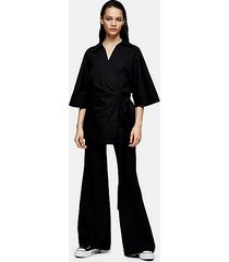 *black poplin wrap shirt by topshop boutique - black