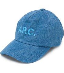 a.p.c. denim baseball cap - blue