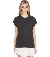 iro harmon t-shirt in black linen