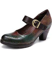 socofy pelle di serpente modello ritagli cinturino con fibbia décolleté con tacco grosso scarpe eleganti mary jane