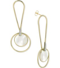 argento vivo mother-of-pearl circle drop earrings in gold-plated sterling silver