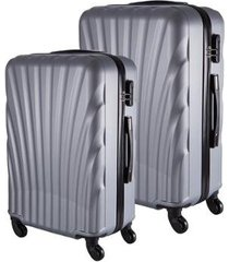 conjunto de mala de viagem em abs fuseco qlink 12 cadeado embutido rodas 360º 2 peças