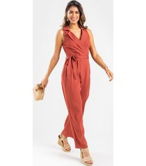 christa utility jumpsuit - rust